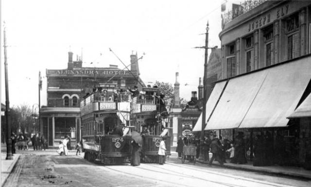 Trams outside Elys